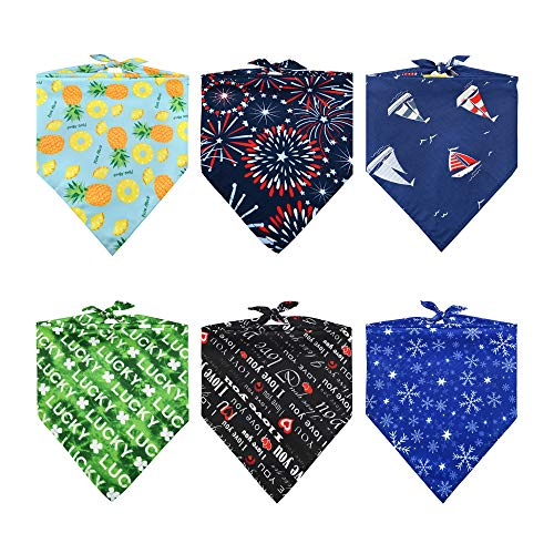 REXESP Pet Bandanas 6 Pics Package, Ideal Combo of Dog Bandana, Dog Costume, Dog Scarf, Dog Accessories & Cat Bandana for Any Size Dogs, Cats & Pets in Xmas, Valentines, National Days & Any Occasions