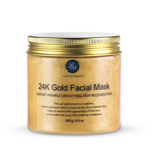 Lagunamoon 24K Gold Facial Mask 8.8 oz Gold Face Mask for Anti Aging Anti Wrinkle Facial Treatment Pore Minimizer, Acne Scar Treatment & Blackhead Remover 250g
