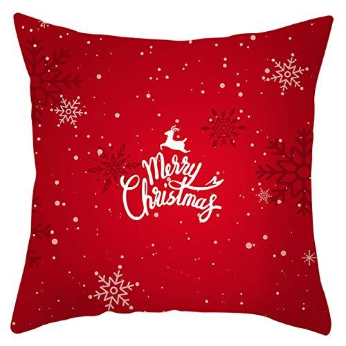 MissW Funda De Almohada con Estampado De Copo De Nieve De Elder Elk De La Serie De Navidad Funda De Cojín para Sofá De Coche Sin Núcleo De Poliéster