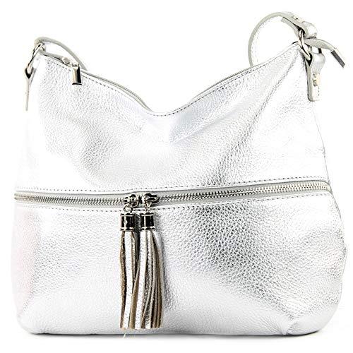 modamoda de - T159 - ital Umhängetasche Schultertasche aus Leder, Farbe:Silber