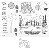 Sellos transparentes, señal de barco/carretera/sellos transparentes de montaña, sello transparente para decoración de tarjetas de álbum de fotos de álbum de recortes