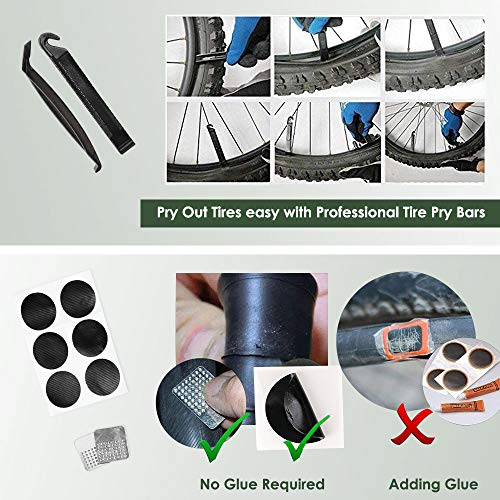 WOTOW Bike Tire CO2 Inflators Kits, Quick Inflate Bicycle Pumps Nozzle with Insulated Sleeve | Glueless Puncture Kit | Fits Presta and Schrader Valve |No Cartridge Included