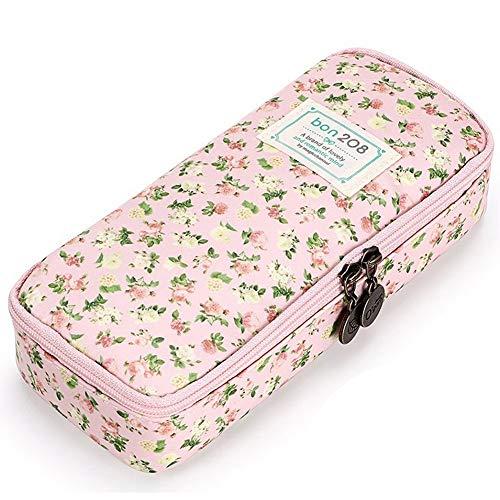 Tianzhiyi Kleidungsorganisator Federmäppchen, Bleistiftbeutel Multifunktions-Stifthalter Aufbewahrungstasche Make-up-Beutel Mit Doppeltem Reißverschluss Für Schülerbriefpapier (Color : Pink)