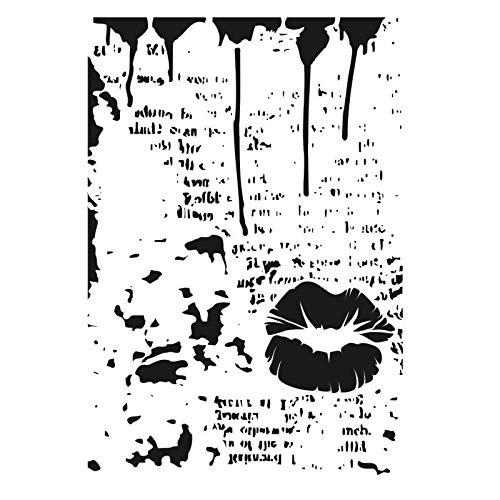 Laser-Kunststoff-Schablone   DIN A4   Hintergrund   Hintergründe   Perfekt geeignet für Textilgestaltung, Wandgestaltung, Fenster, Papier, Scrapbooking, Kinder, Basteln, DIY (Mixed Media 03)