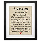 Corfara Framed 3rd Wedding Anniversary Burlap Gift 11' W X 13' H, Happy 3rd Anniversary,Gift for Wife 3rd Wedding Anniversary Husband 3rd Year Wedding Anniversary Gift 3 Years of Marriage
