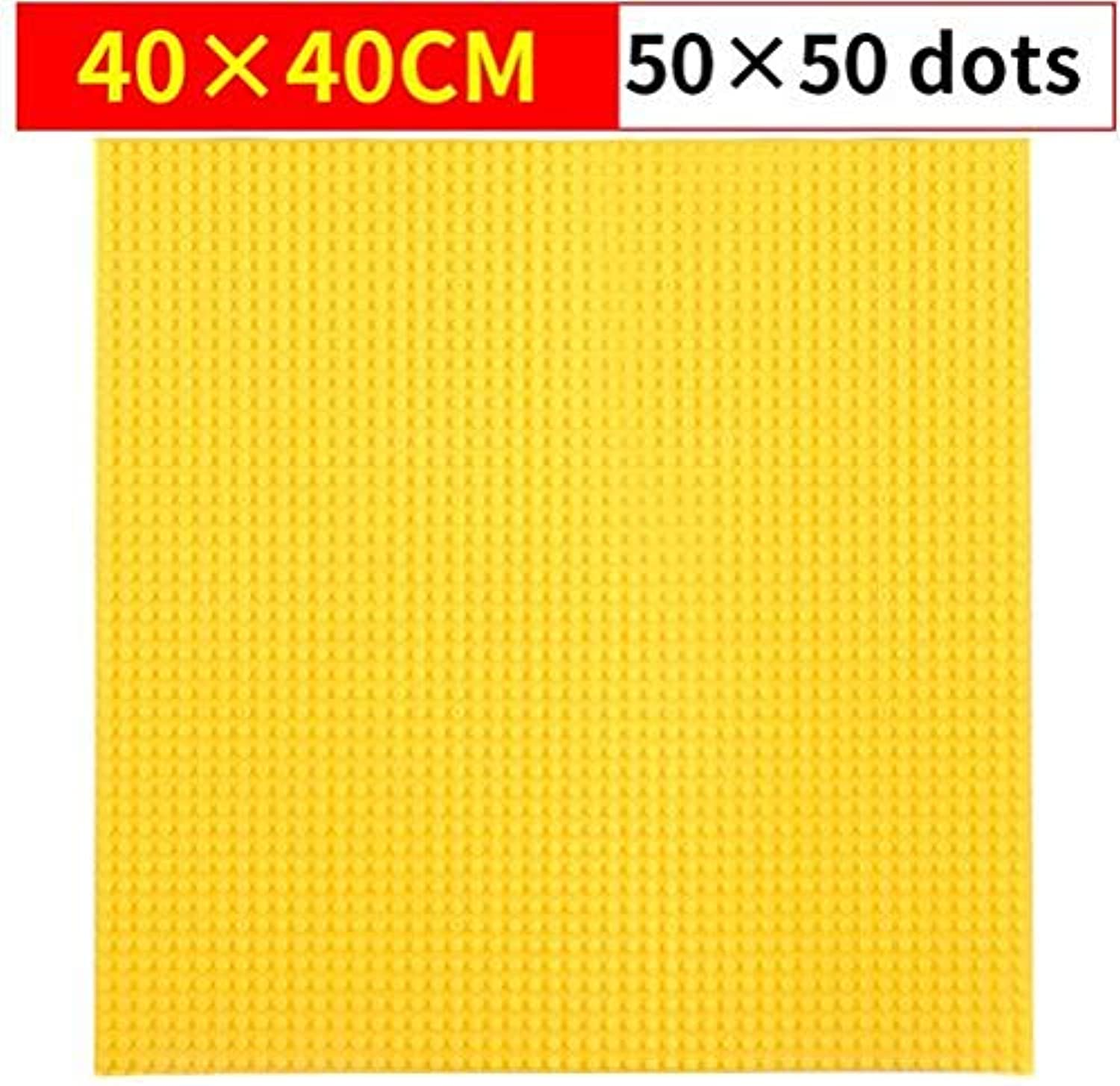 Generic 5050 Dots Small Building Blocks Big Base Plate 4040CM Small Bricks Baseplate Construction Toys for Kids Compatible L Baseplate Yellow