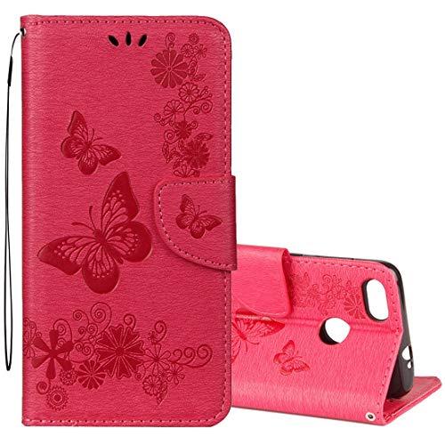 DACHENGJIN Funda móvil For Huawei P9 Lite Mini Vintage con Estampado Floral Mariposa patrón Funda de Cuero con Tapa Horizontal con Ranura for Tarjeta y Soporte y Cartera y cordón (Negro)