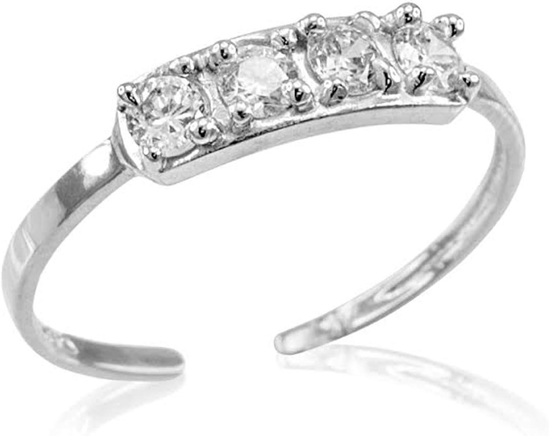 10k White gold 4Stone Toe Ring