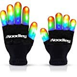 The Noodley Flashing LED Finger Light Gloves with Extra Batteries - Kids and Teen Sized Ages 8-12 (Medium, Black)