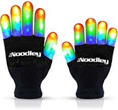 The Noodley LED Gloves Cool Toys for Boys 8-10 Years Old Glow in The Dark Halloween Costume Accessory Kids and Teen Sized with Extra Batteries Ages 8-12 (Medium, Black)