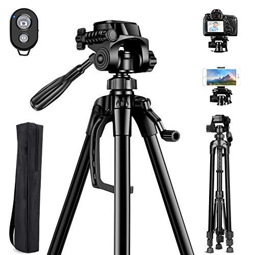 Aitsite Kamera Stativ, Leichtes-Reise Handy Stativ aus Aluminium, Handy stativ mit fernauslöser, mit 3 Wege-Schwenkkopf, mit Handyhalterung, Bluetooth Fernbedienung und Tragetasche