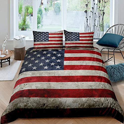 Rustic American Flag Comforter Cover King Size Red White Stripe Decor Bedding Set Independence Day Freedom Theme Duvet Cover for Adult Women Teens Soft Microfiber Vintage Bedspread with Zipper Ties