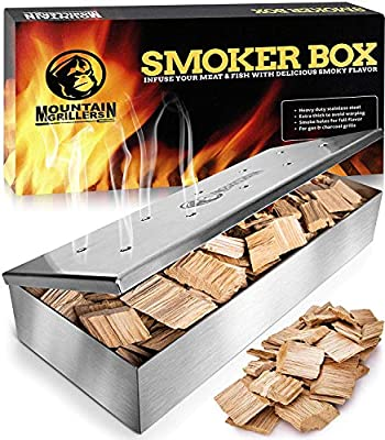 Grill Smoker Box for Wood Chips - Use a Gas or Charcoal BBQ and Still Get That Delicious Smoky Barbecue Flavored Grilled Meat - Brushed Finish Stainless Steel