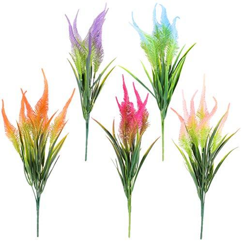 plantas de exterior flores artificiales exterior flores plástico-5 Piezas Ramo de Flores Artificiales Selecciones de Flores Realistas Arreglo Floral para Decoraciones de Boda en Casa de Mesa