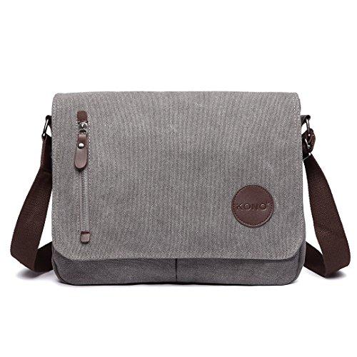 Kono Leinwand Laptop Messenger Taschen 13,5 Zoll Canvas Satchel Messenger Schultertasche Umhängetaschen für Herren Arbeits-Laptoptasche (Grau)