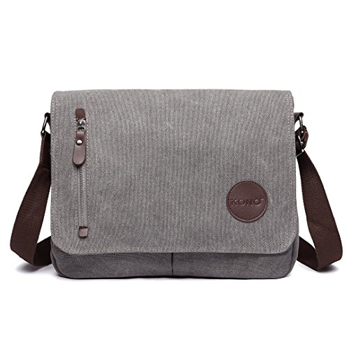 Kono Canvas Laptop Messenger Bags Mens Crossbody Bags 13.5'' Canvas Satchel Messenger Shoulder Bag (Grey)