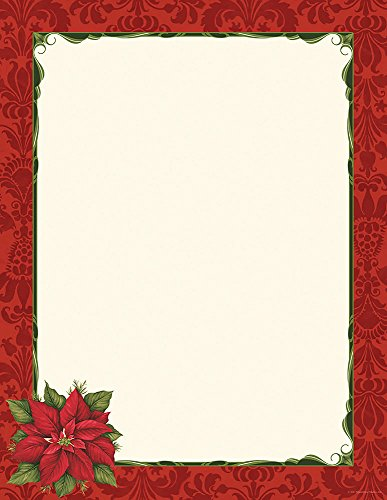 Great Papers! Poinsettia Damask Letterhead, 80 count, 11' x 8.5' (2011870)