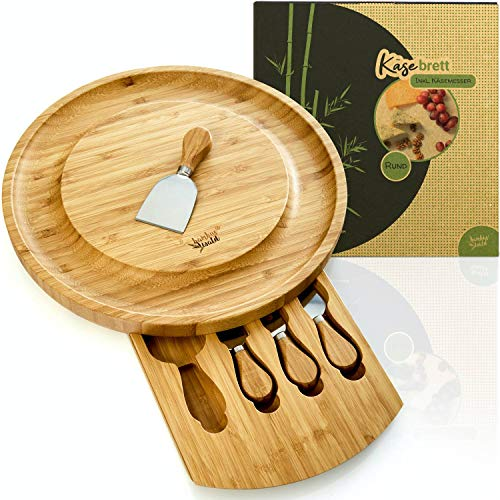 bambuswald tabla de quesos ecológicos incl. 4 cuchillos para queso hechos de bambú | 33x33x4cm y un cajón | para servir galletas de queso salami