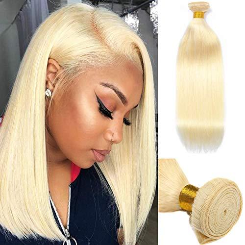613 Virgin Hair Bundles 8A Sew in Blonde Bundle 100% Unprocessed Brazilian Human Hair Weft Weave Extensions Sew in Blonde Bundle 1 Piece 100G/Set 16 Inch Straight Hair Double Weft Remy Human Hair Weft