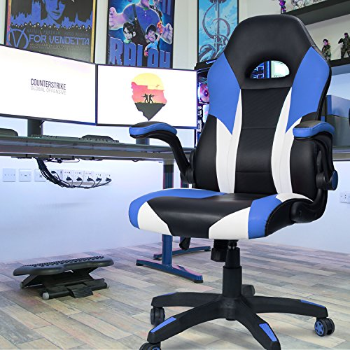 Homall Gaming Chair Office Computer Chair Racing Desk Chair Ergonomic High Back Adjustable Swivel Chair PU Leather Executive Chair for Adults with Flip Up Padded Arms (Blue)