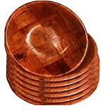 Wooden Woven Salad Bowl, Woven Wood Snack Bowls 8'-Inch, Set of 6...