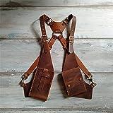 Steampunk Women Men Medieval Leather Shoulder Bag Vintage Phone Case Wallet Double Pocket Holster Viking Pirate Costume Purse,Brown