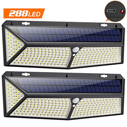 VOOE Luz Solar Exterior 288 LED - USB Recargable Luces led S