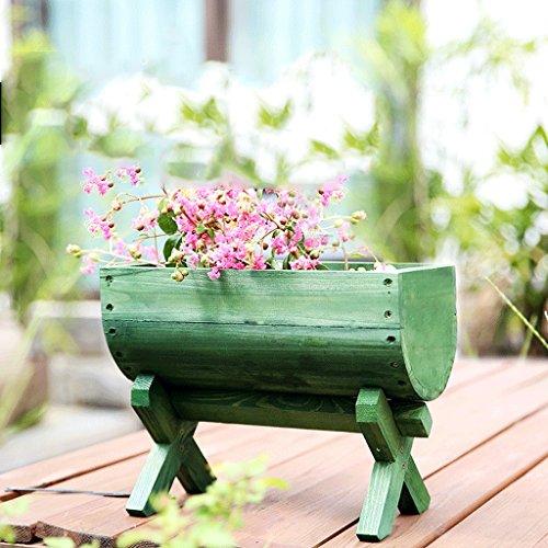 Pots à fleurs en bois antiques Rectangulaires Casiers à fleurs en teck Cuvettes à fleurs en bois carbonisé Pots multi-fleurs en bois Pots en pot ( Couleur : Vert )