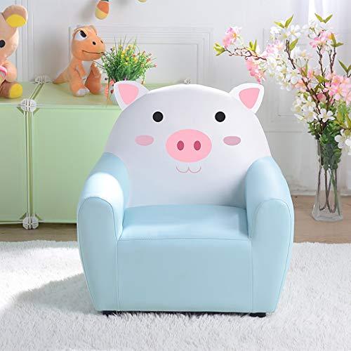 Mousse Fauteuil, Mini Animaux Petit Canapé Enfants Meubles Thème Porc Pour 1-6 Ans Garçon Fille (Color : Blue)