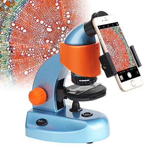 Gosky Mikroskop für Kinder, Studenten, Anfänger, Bildungswissenschaftliches Mikroskop-Set, bestes Kinder-Mikroskop, Geschenk mit Smartphone-Halterung und Slides (40 x 200 x)
