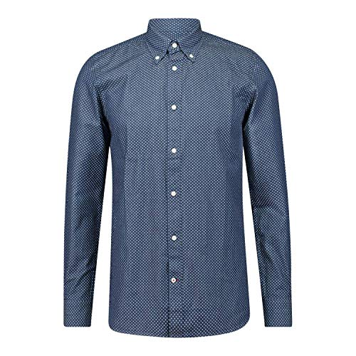 Tommy Hilfiger Herren Slim Look Print Shirt Hemd, Light Indigo/White, L