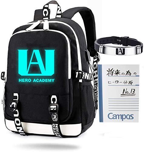 My Hero Academia - Mochila luminosa con puerto de carga USB, unisex, mochila de viaje BNHA + pulsera
