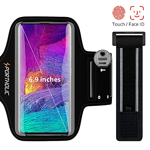 PORTHOLIC Arm Band for Smartphone, Running Cell Phone Holder Running for iPhone 11 Pro Max / X / XS / 8p / 7p / 6p, Galaxy S20 / 10 + / 9 + / 8 +, Huawei P40 / 30/20 Lite, Xiaomi Redmi mi 9 etc, 6,5 ""