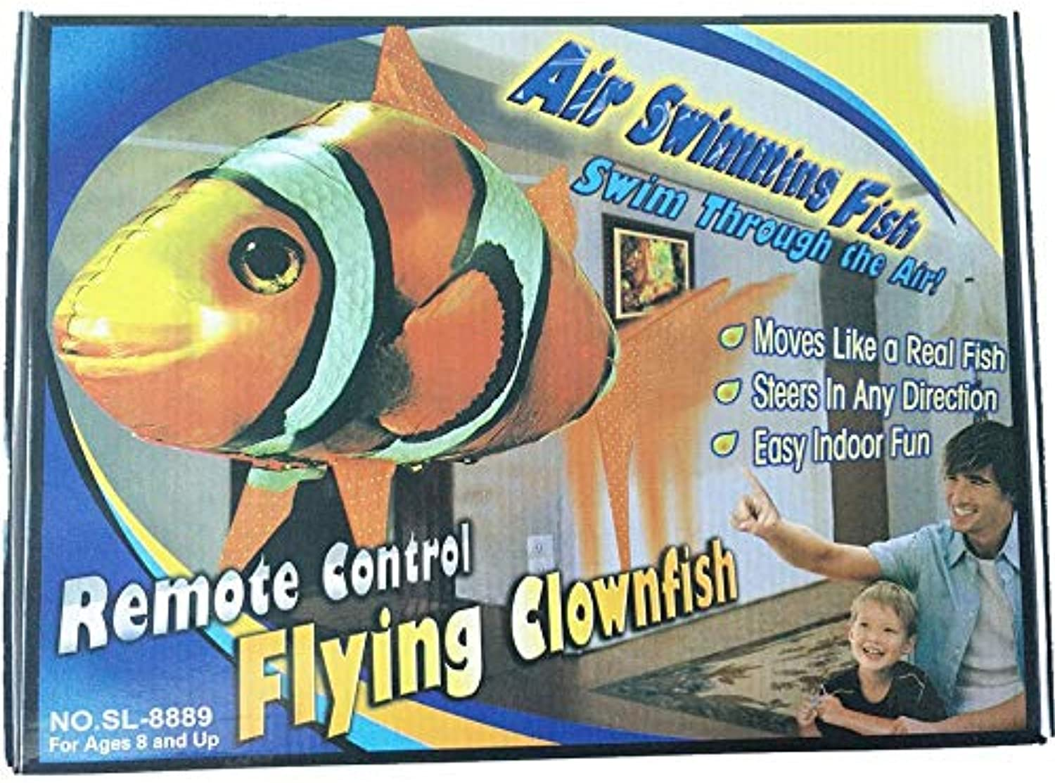 Generic 1PCS Remote Control Flying Air Shark Toy RC Helicopter Inflatable with Helium Fish Plane Clown Fish Balloons Robot Gift for Kids Clownfish with Box