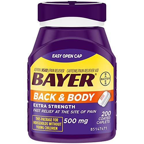 Bayer Back amp Body Extra Strength Aspirin 500mg Coated Tablets Fast Relief at the Site of Pain Pain Reliever with 325mg Caffeine 200 Count