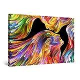 Startonight Cuadro Moderno en Lienzo - Besándose en la Eternidad, Multicolor - Pintura Abstracta Para Salon Decoración Grande 80 x 120 cm
