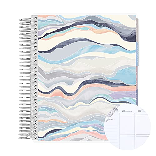 """12 Month 7"""" x 9"""" Spiral Coiled Vertical Weekly Life Planner/Agenda (July 2021 - June 2022). Layers Neutral Flexible Cover, Flora Interior Design by Erin Condren"""