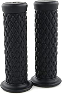 Vintage Rubber Motorcycle Handlebar Grips, for All 22mm (Left)+25mm (Right), 7/8 inch (Left)+1 inch(Right) Handlebar (Black)