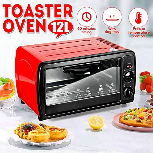 Household Mini Oven,Mini Oven with Electric Grill and Hotplates,Mini Oven with Grill and Rotisserie,60 Minutes of Timing, Upper and Lower Tube Heating,Heat Dissipation Design,Red