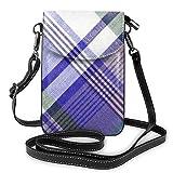 Goxegag Cartera multifuncional de piel para teléfono móvil, ligera y pequeña, bolso de viaje con correa ajustable, para mujer, diseño de cuadros azules, gris