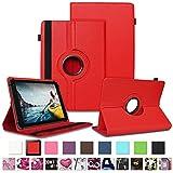 NAUC Tablet Schutzhülle für Medion Lifetab P8912 Hülle Tasche Standfunktion 360° Drehbar Cover Universal Case, Farben:Rot