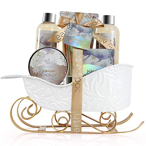 Bath and Body Set - Body & Earth Women Gifts Spa Set with Jasmine & Honey Scent, Includes Bubble Bath, Shower Gel, Body Lotion and Hand Cream. Perfect Gift Basket for Women