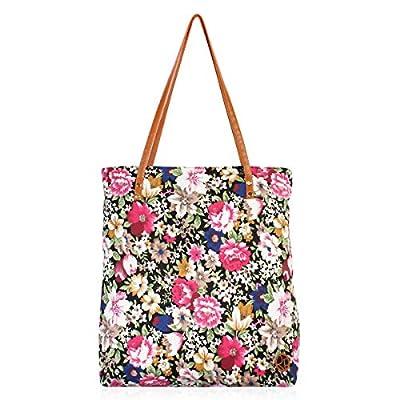 Versatile Fun Print Fabric Eco Shopper Beach Tote - Cute Reusable School Shoulder Bag Pineapple, Flower, Skull