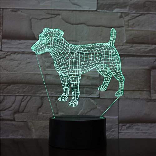 Lindo perro lámpara de modelado 3D LED lámpara de atmósfera multicolor junto a la cama regalo de Navidad lámpara de decoración para dormitorio infantil