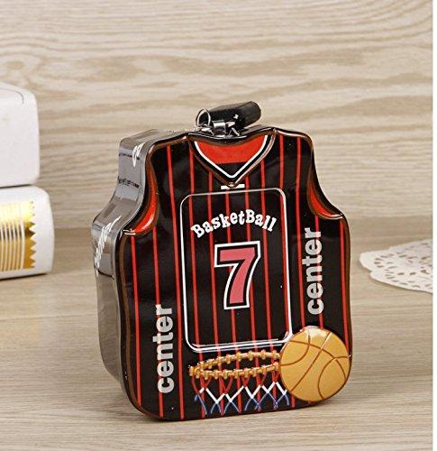 Abenily Münzen-Spardose-Geschenkbox Basketball-Shirt Sparschwein Hochwertige Zinn Aufbewahrungsbox mit Schloss (Schwarz)