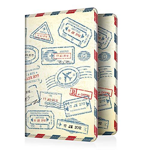 Fintie Reisepass Schutzhülle - Premium Kunstleder Reisepasshülle Halter mit RFID Blockier für Kreditkarten, Ausweis und Reisedokumente, Stempel Design