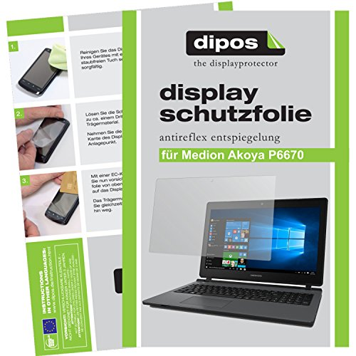 dipos I 2X Schutzfolie matt kompatibel mit Medion Akoya P6670 Folie Bildschirmschutzfolie