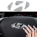 Sparkle-um Steering Wheel Unique Bling Crystal Badge Emblem Overlay Decal Decoration Cover Sticker Trim for 2015-2018 Hyundai.