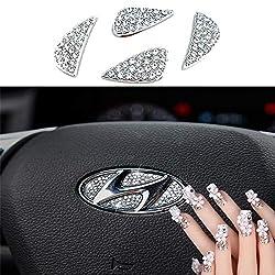 Hyundai Steering Wheel Bling Crystal Badge Emblem