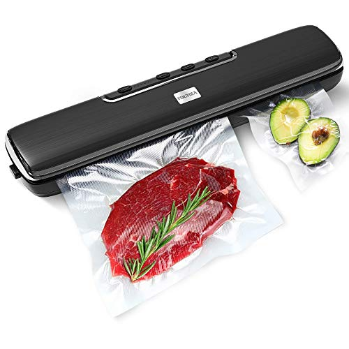 Food Vacuum Sealer Machine, FOCHEA Automatic Food Saver Storage Sealer Machine with Precut Bags and Jar Attachment for Wet/Dry Food Preservation and Sous-Vide & Meal